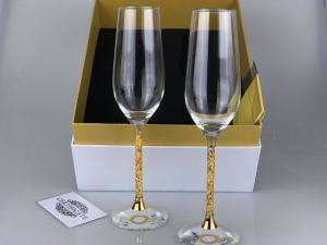 Ly champagne pha lê đúc vàng lá 24k. Mã sản phẩm: FNS- A007