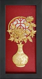 Tranh vàng lá 24K - bình hoa cúc - SSN1326-19