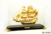 Thuyền buồm mạ vàng 24k cỡ lớn-491