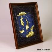 Tranh cá chép hoa sen vàng lá 1